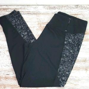 Calia Black Leggings/White Floral Side Panels XL